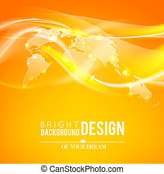 Abstract shine background of world map Vector illustration