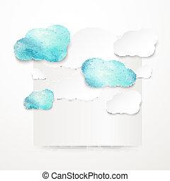 acuarela, lluvioso, nubes