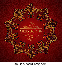 Damask medallion - Damask medallion over red background for...