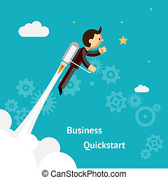 Cartoon Design for Business Growth and Start up - Flying...