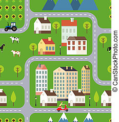 Seamless Vector Town Background Design