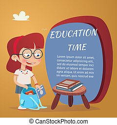 Beautiful Education Poster Isolated on Orange - Beautiful...