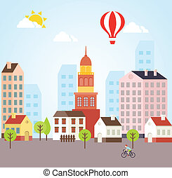 Seamless Vector Sunny Town Landscape Background For Cards...