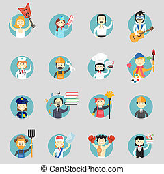 Badges with avatars of different professions with musicians...