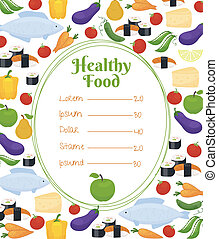 Healthy food menu template with an oval frame and price list...