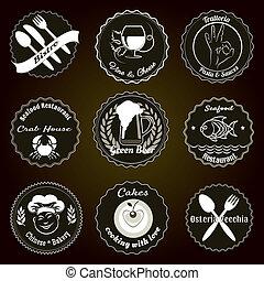 Retro restaurant menu badges