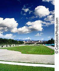 Royal palace and garden in Vienna