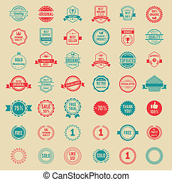 Vector Colored Vintage Badges and Labels - Assorted Designs...