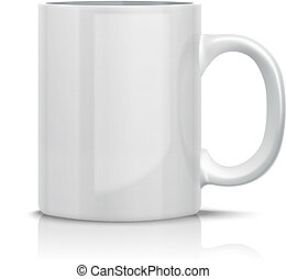 Classic White Cup - Close up Vector Classic White Cup for...