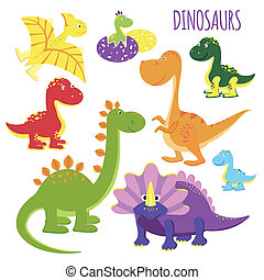 vector icons of baby dinosaurs - Cute set of vector icons of...