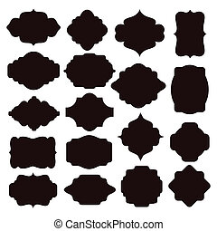 Set of black silhouette frames for badges - Large set of...