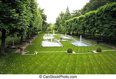 A Italian garden design in a botanical garden