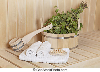 Steam bath room stuff - Sauna stuff - birch besom and a...