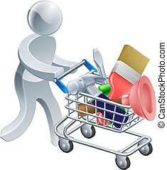 Person with tools trolley - Person pushing a shopping cart...