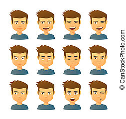 Male avatar expression set - Isolated set of male avatar...