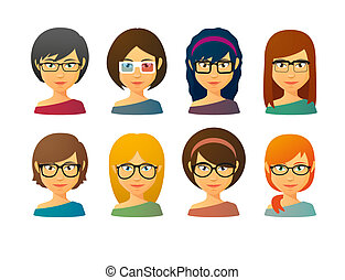 Female avatars wearing glasses with various hair styles -...