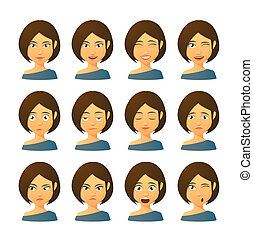 Female avatar expression set - Isolated set of female avatar...