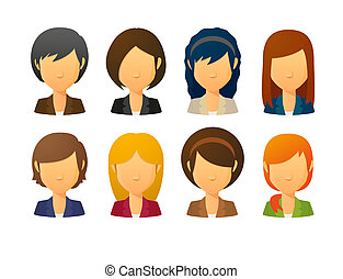Faceless female avatars wearing suit with various hair...
