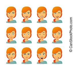 Female avatar expression set - Isolated set of female avatar...