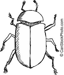 scarab beetle - hand drawn, sketch, doodle illustration of...