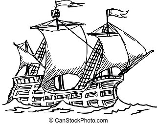 caravel - hand drawn, sketch illustration of caravel