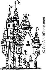 castle - hand drawn, sketch illustration of castle