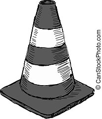 traffic cone - hand drawn, sketch illustration of traffic...