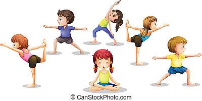 Children stretching - Illustration of many children...