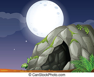 Cave - Illustration of cave and full moon