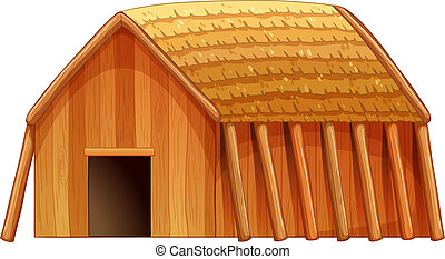 Cottage - Illustration of a single wooden cottage