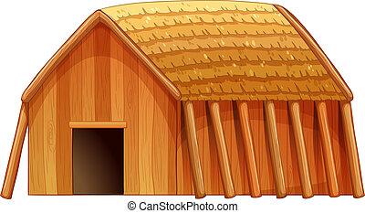Cottage - Illustration of a single wooden cottage