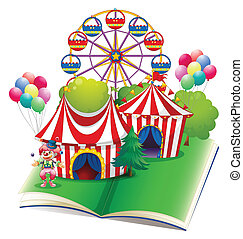 Circus book - Illustration of a carnival popup book