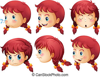 Girl expressions - Illustration of a girl expressions