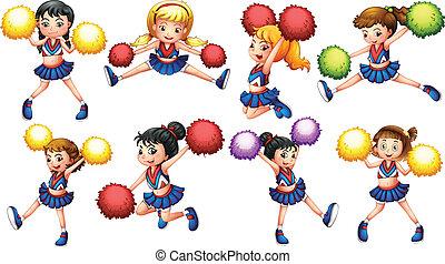 Cheerleaders - Illustration of many cheerleaders with pom...