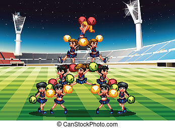 cheerleading team - Illustration of a group of cheerleaders...