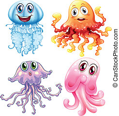 Jelly fish - Illustration of differnt kinds of jelly fish