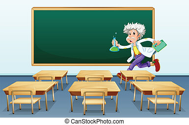 Scientist in classroom - Illustration of a scientist in...