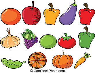 Healthy fruits and vegetables - Illustration of the healthy...