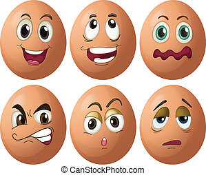 Egg expressions - Illustration of egg with expressions
