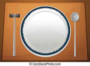 Empty plate on mat - Illustration of an empty plate on a...