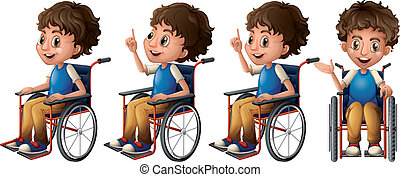 Boy on wheelchair - Illustration of a boy sitting on a...