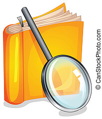 Textbook - Illustration of a textbook and a magnifying glass