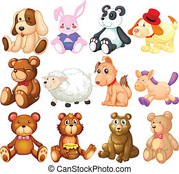 Stuffed animals - Illustration of many stuffed animals