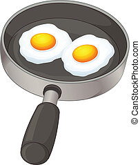 Fried eggs - Illustration of the fried eggs on a white...