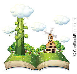 Beanstalk book - Illustration of a popup book with beanstalk