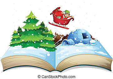 Winter book - Illustration of a winter popup book