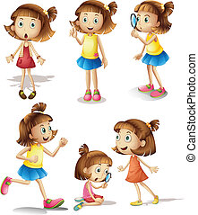 Girls actions - Illustration of girls with different actions