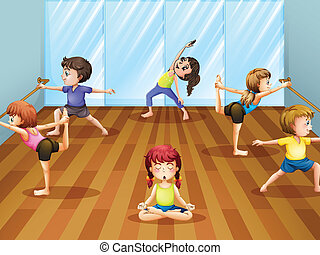 Ballet class - Illustration of children getting ready for a...