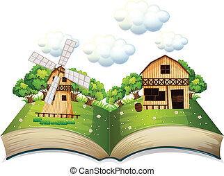Farm book - Illustration of a popup book of a farm
