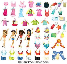 Girl dress set - Illustration of a set of girls and dresses